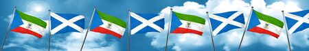 Equatorial guinea flag with Scotland flag, 3D rendering