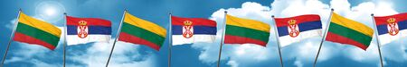 Lithuania flag with Serbia flag, 3D rendering