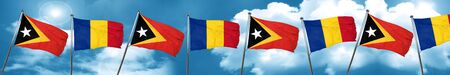 east timor flag with Romania flag, 3D rendering