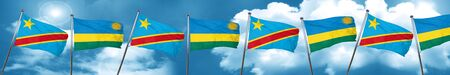democratic: Democratic republic of the congo flag with rwanda flag, 3D rendering Stock Photo