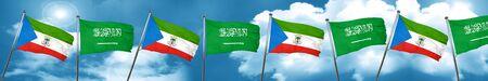 Equatorial guinea flag with Saudi Arabia flag, 3D rendering Stock Photo