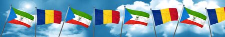 Equatorial guinea flag with Romania flag, 3D rendering Stock Photo