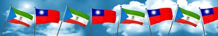 Equatorial guinea flag with Taiwan flag, 3D rendering Stock Photo