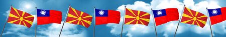 Macedonia flag with Taiwan flag, 3D rendering Stock Photo