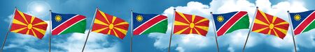 Macedonia flag with Namibia flag, 3D rendering