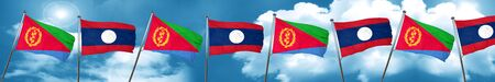 Eritrea flag with Laos flag, 3D rendering