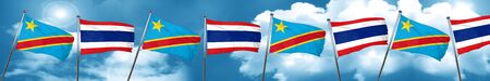 Democratic republic of the congo flag with Thailand flag, 3D rendering