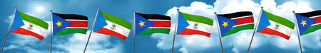 Equatorial guinea flag with South Sudan flag, 3D rendering Stock Photo