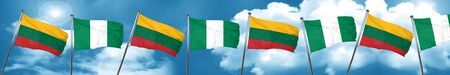 Lithuania flag with Nigeria flag, 3D rendering Stock Photo
