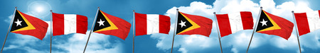 timor: east timor flag with Peru flag, 3D rendering Stock Photo