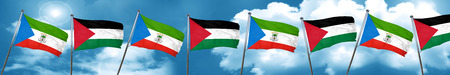 Equatorial guinea flag with Palestine flag, 3D rendering