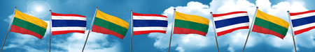 Lithuania flag with Thailand flag, 3D rendering