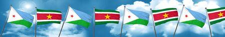Bandera de Djibouti con la bandera de Surinam, 3D Foto de archivo