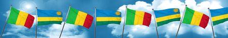 combines: Mali flag with rwanda flag, 3D rendering