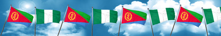 country nigeria: Eritrea flag with Nigeria flag, 3D rendering