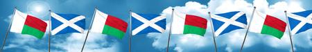 bandera de Madagascar con la bandera de Escocia, 3D