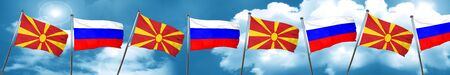 Macedonia flag with Russia flag, 3D rendering