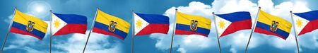 philippino: Ecuador flag with Philippines flag, 3D rendering