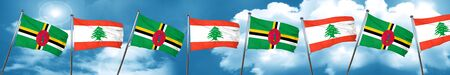 Dominica flag with Lebanon flag, 3D rendering Stock Photo
