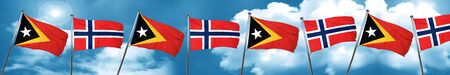 norway flag: east timor flag with Norway flag, 3D rendering