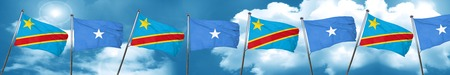 Democratic republic of the congo flag with Somalia flag, 3D rendering