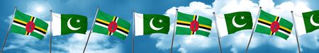 Dominica flag with Pakistan flag, 3D rendering Stock Photo