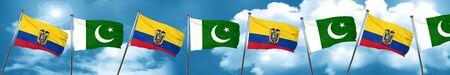 Ecuador flag with Pakistan flag, 3D rendering