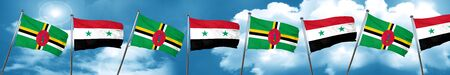 Dominica flag with Syria flag, 3D rendering