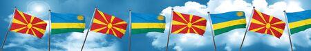 Macedonia flag with rwanda flag, 3D rendering Stock Photo