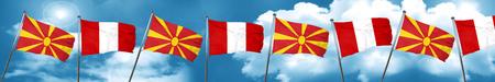 bandera de peru: Bandera de Macedonia con la bandera de Perú, representación 3D