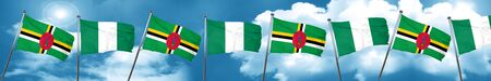Dominica flag with Nigeria flag, 3D rendering Stock Photo
