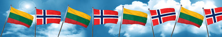 lithuania: Lithuania flag with Norway flag, 3D rendering
