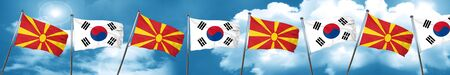 Macedonia flag with South Korea flag, 3D rendering