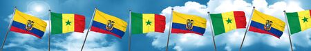 Ecuador flag with Senegal flag, 3D rendering Stock Photo