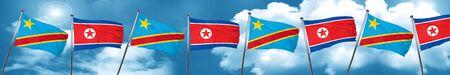 Democratic republic of the congo flag with North Korea flag, 3D rendering