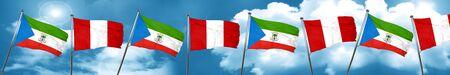 Equatorial guinea flag with Peru flag, 3D rendering Stock Photo