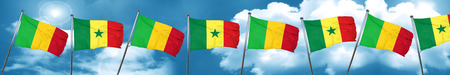 Mali flag with Senegal flag, 3D rendering