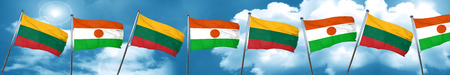 Lithuania flag with Niger flag, 3D rendering