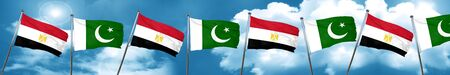 Egypt flag with Pakistan flag, 3D rendering Stock Photo
