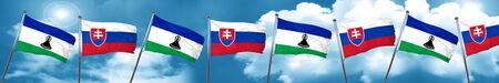 Lesotho flag with Slovakia flag, 3D rendering