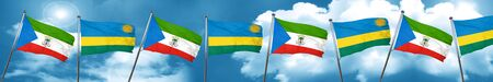 Equatorial guinea flag with rwanda flag, 3D rendering