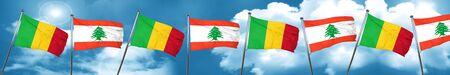lebanon: Mali flag with Lebanon flag, 3D rendering