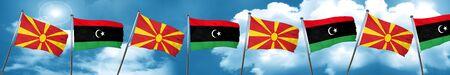 Macedonia flag with Libya flag, 3D rendering Stock Photo