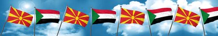 Macedonia flag with Sudan flag, 3D rendering