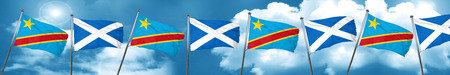 democratic: Democratic republic of the congo flag with Scotland flag, 3D rendering