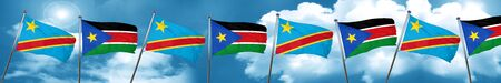 Democratic republic of the congo flag with South Sudan flag, 3D rendering Stock Photo
