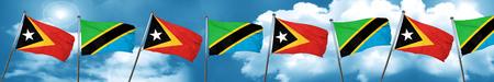 tanzania: east timor flag with Tanzania flag, 3D rendering Stock Photo