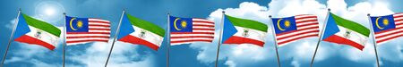 Equatorial guinea flag with Malaysia flag, 3D rendering
