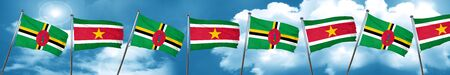 Dominica flag with Suriname flag, 3D rendering