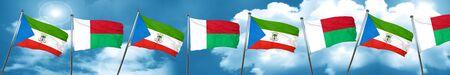 Equatorial guinea flag with Madagascar flag, 3D rendering